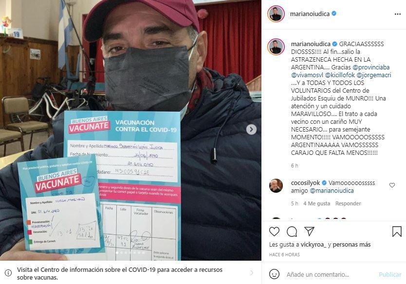 """Mariano Iúdica celebró su vacunación contra el coronavirus: """"Lo comparo con el nacimiento de un hijo"""""""